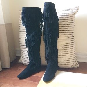 Sam Edelman suede fringed over the knee boot
